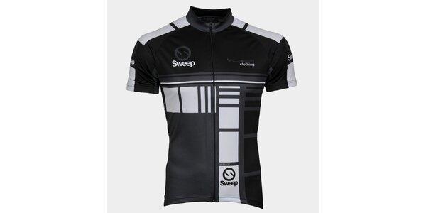 Šedo-čierny cyklistický dres Sweep