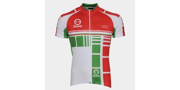 Zeleno-červený cyklistický dres Sweep