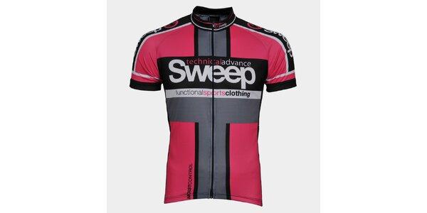 Ružovo-čierny cyklistický dres Sweep