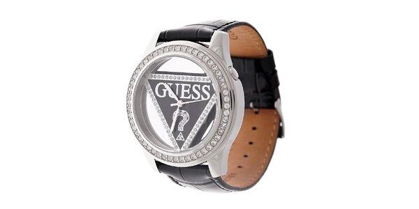 Dámske čierne hodinky Guess s koženým remienkom a transparentným ciferníkom