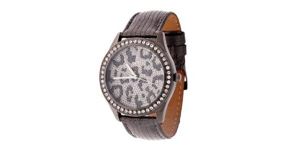 Dámske šedo-strieborné hodinky Guess s koženým remienkom