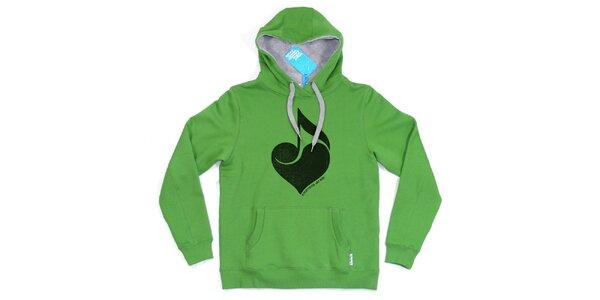 Pánska zelená mikina so srdcom Seventy Seven