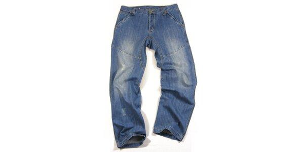 Pánske modré džínsy s šisovaním Seventy Seven