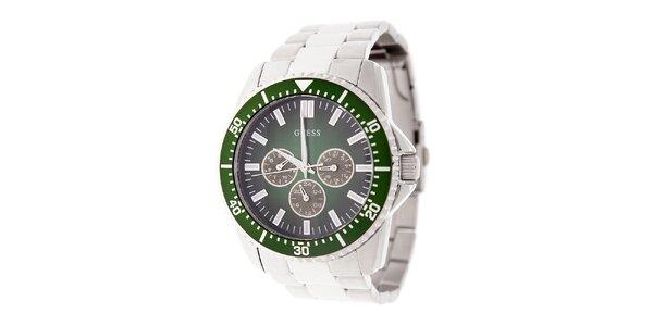Pánske oceľové hodinky Guess se zeleným ciferníkom
