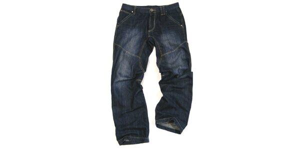 Pánske tmavo modré džínsy s šisovaním Seventy Seven