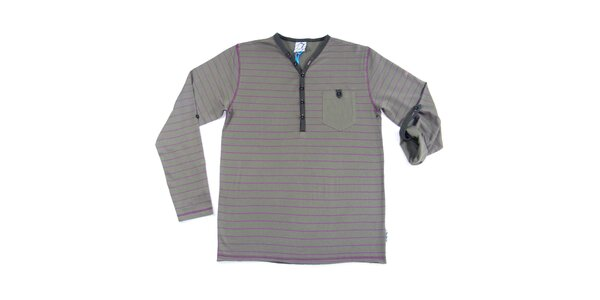 Pánske šedé pruhované tričko s dlhým rukávom Seventy Seven