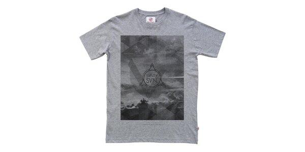 Pánske šedé tričko s potlačou Seventy Seven