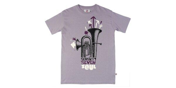Pánske fialové tričko s potlačou Seventy Seven