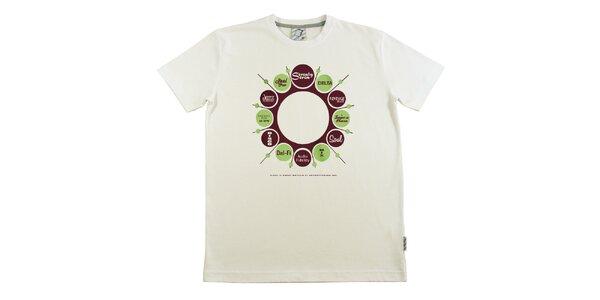 Pánske krémovo biele tričko s retro potlačou Seventy Seven