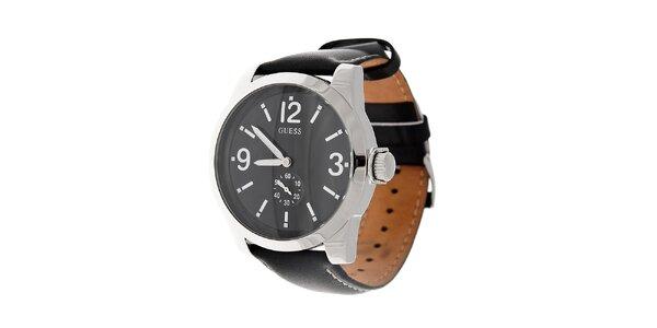 Pánske čierne hodinky Guess s koženým prešívaným remienkom