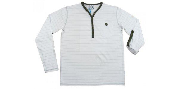 Pánske biele pruhované tričko s dlhým rukávom Seventy Seven