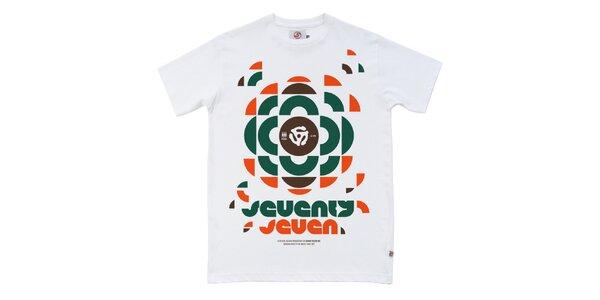Pánske biele tričko s retro potlačou Seventy Seven
