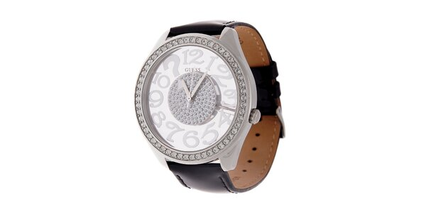 Dámske čierne hodinky Guess s koženým lakovaným remienkom a transparentným…
