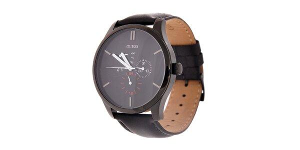 Pánske čierne hodinky Guess s koženým remienkom