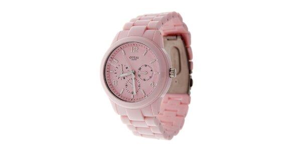 Dámske svetlo ružové náramkové hodinky Guess