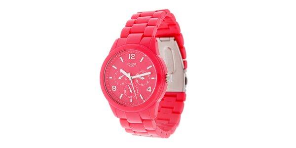 Dámske neónovo ružové náramkové hodinky Guess