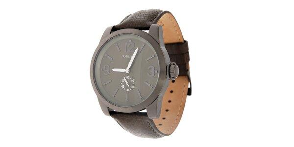 Pánske oceľovo šedé hodinky Guess s koženým remienkom