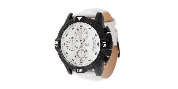 Pánske biele hodinky Guess s koženým remienkom