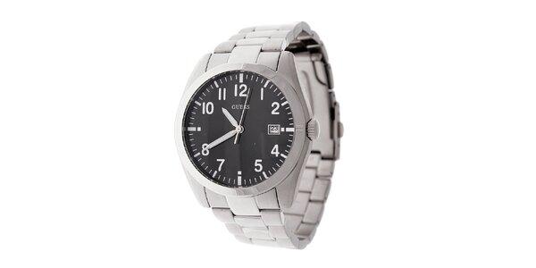 Pánske oceľové náramkové hodinky Guess s čiernym ciferníkom