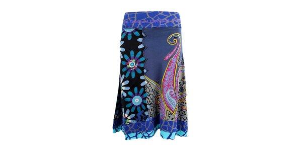 Dámska modrá sukňa s pestrou potlačou Desigual
