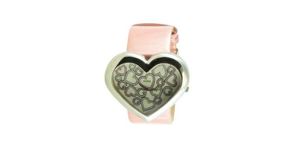 Dámske náramkové hodinky Guess v tvare srdca