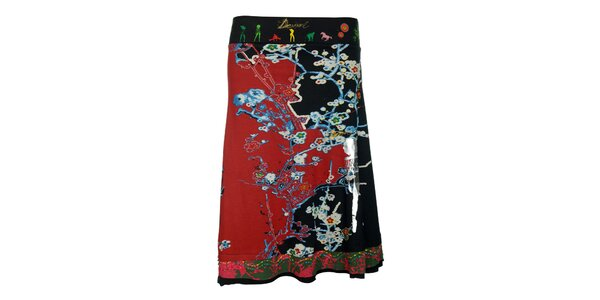 Dámska červeno-čierna sukňa s pestrým vzorom Desigual