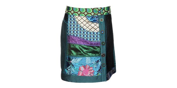 Dámska farebná lesklá sukňa Desigual s výšivkami