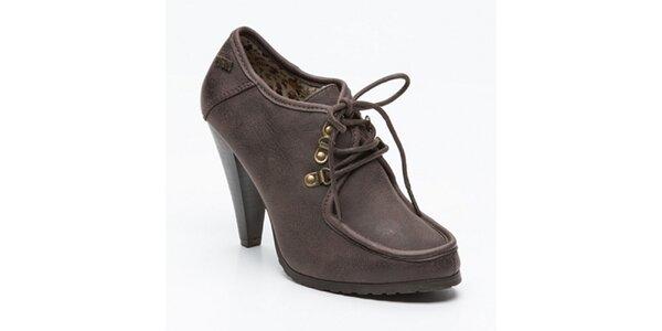 Dámske hnedé topánky na opätku Maria Mare