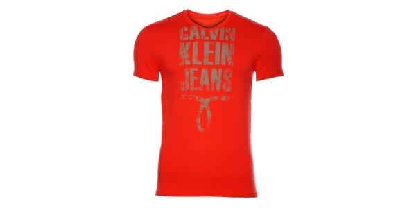 Pánske žiarivo červené tričko Calvin Klein s potlačou