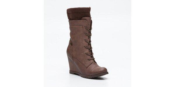 Dámske hnedé vysoké šnúrovacie topánky na kline Maria Mare