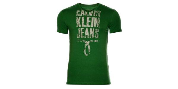 Pánske trávovo zelené tričko Calvin Klein s potlačou