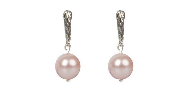 Dámske ružové perlové náušnice Royal Adamas