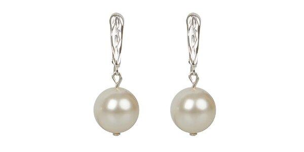 Dámske snehobiele perlové náušnice Royal Adamas