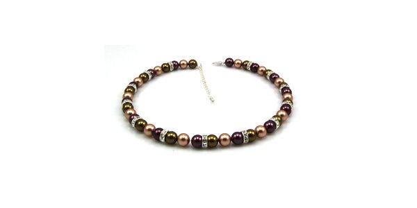 Dámsky perlový náhrdelník Royal Adamas so zeleno-fialovými perlami