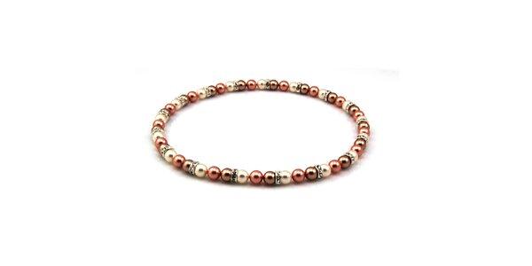 Dámsky perlový náhrdelník Royal Adamas so staroružovými perlami