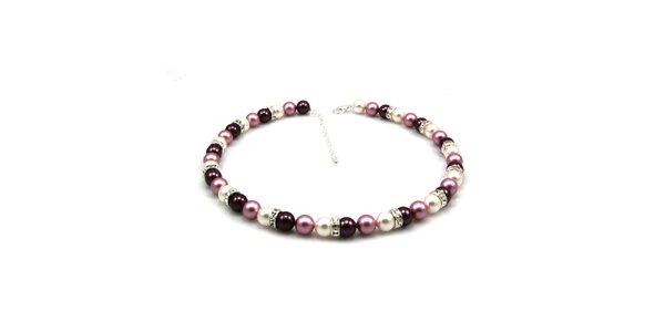 Dámsky perlový náhrdelník Royal Adamas s fialkovými perlami