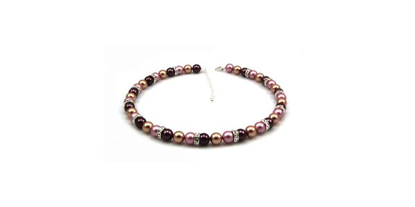 Dámsky perlový náhrdelník Royal Adamas s ružovo-fialovo-zlatými perlami