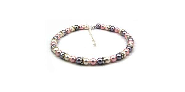 Dámsky perlový náhrdelník Royal Adamas so strieborno-ružovými perlami
