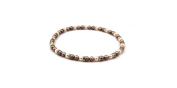 Dámsky perlový náhrdelník Royal Adamas s hnedými perlami