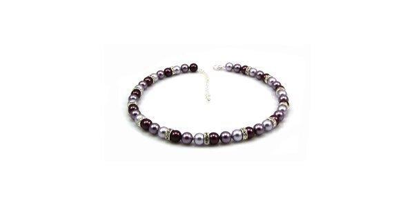 Dámsky perlový náhrdelník Royal Adamas s fialovo-striebornými perlami