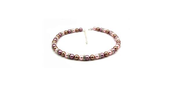 Dámsky perlový náhrdelník Royal Adamas s ružovými perlami
