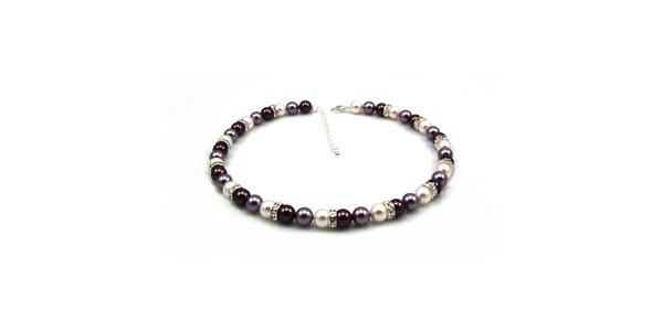 Dámsky perlový náhrdelník Royal Adamas s fialovými perlami
