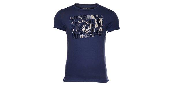 Pánske tmavo modré tričko Calvin Klein s farebnou potlačou