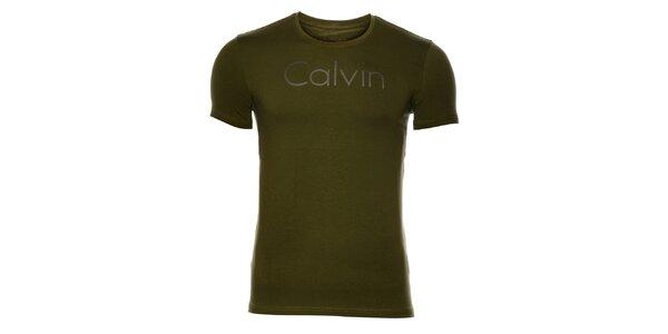 Pánske khaki tričko Calvin Klein s potlačou