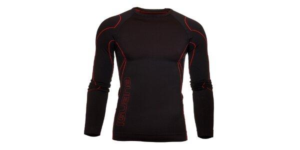 Pánske čierne termo tričko Iguana s červenými detailami