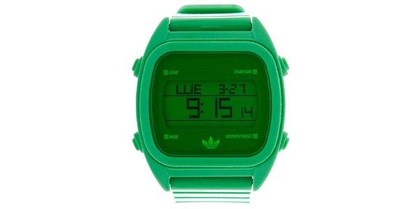 Pánske zelené plastové digitálne hodinky Adidas