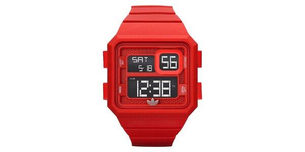 Unisexové červené digitálne hodinky so stopkami Adidas