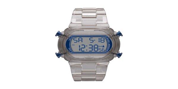 Unisexové digitálne hodinky so šedým remienkom Adidas