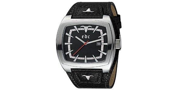 Čierne hodinky s koženým remienkom EDC by Esprit