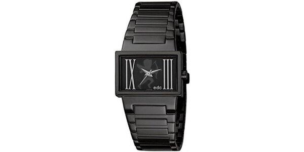 Čierne hodinky s oceľovým remienkom EDC by Esprit
